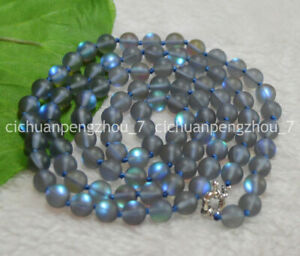 """Natural 10mm Gray Gleamy Rainbow Moonstone Round Gems Beads Necklaces 16-64"""""""