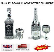 Wine Bottle & Glass Silver Crushed Diamond Crystal Filled Whisky Bottle Ornament