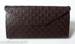 Gucci Eyeglass Sun Glasses Case Foldable Brown Leather Signature Microssima