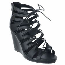 WOMENS HIGH HEEL CUT OUT WEDGES SANDALS LADIES PLATFORM LACE TIE UP SHOES SIZE