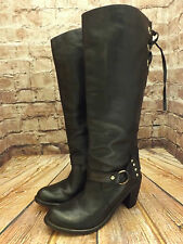 Womens Perlato Black Leather Pull On Mid Heel Long Boots Size EU 38