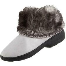 ISOTONER Microsuede Addie Low BOOT Style Slipper Shoe Stormy GRAY w Faux Fur