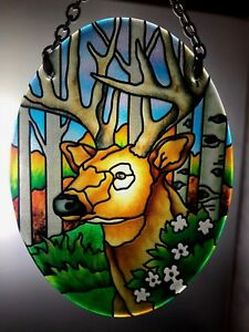 Joan Baker Hand painted Suncatcher-SO285R-Deer outdoors nature woods new item
