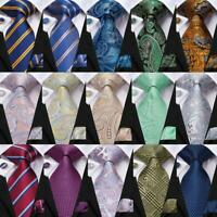 USA Classic 299 Blue Gold Striped Men's Tie Woven Silk Necktie Set Hanky Wedding