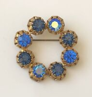 Vintage circle  made in Austria brooch Pin gold tone metal with crystals