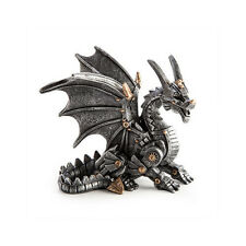 Sitting Steampunk Dragon Figurines Statue Collectible Geek Ornament Fantasy