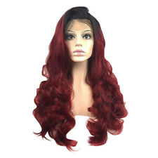"""Ombre Wine Red Synthetic Wig Lace Front Wigs Long Wavy Heat Resistant 24"""""""