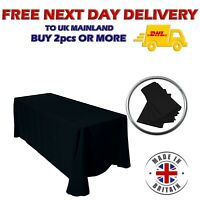 BLACK POLYESTER TABLECLOTH 90 x 132'' Wedding Rectangle Table Cover Party Decor