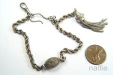 ANTIQUE ENGLISH LATE VICTORIAN SILVER ALBERTINA WATCH CHAIN / BRACELET c1890