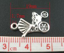 10 X Silver Tone Baby Carriage/Pram Charms/Pendants