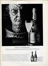 """1969 MOET Champagne Vintage Bottle """"In the Tradition of Don Perignon"""" PRINT AD"""