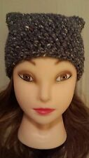 Chunky hat crochet kitty pussy cat ears woman' hand made new Gray speck