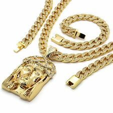 Mens 14k Gold Plated Iced Out Hip-Hop Jesus Pendant CZ Cuban Chain & Bracelet