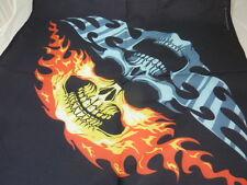 bandana  tete de mort 2 machoires 1 grise et 1 en flammes, biker, moto, aigle