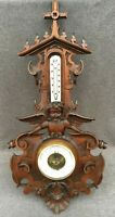 Large antique black forest barometer thermometer wood 1900's Germany religious