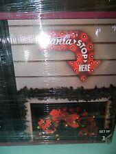 Gemmy Lightshow Santa Stop Here Light Up Metal Sign Decoration NEW!!