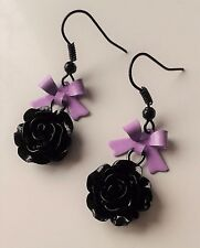 Cute Lolita Earrings Purple metal Bow Black Rose Sweet Girly Gothic. Pastel Goth