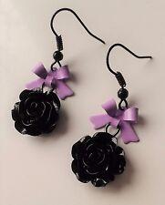 Lindo Arco De Metal Púrpura Lolita pendientes Black Rose Dulce Girly Gótico. Pastel Goth