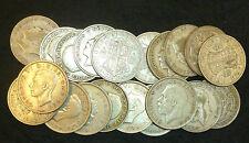 BULK Lotto di 20 CIRCOLATI pre 1947 SILVER halfcrowns 2/6 GEORGE V + GEORGE VI