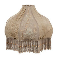 Victorian Fringed Antique Buff Pleated Chiffon Embroidered Panel Lamp Shade GWTW
