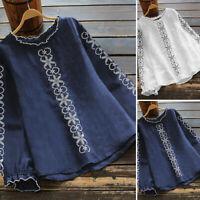 ZANZEA Women Long Sleeve Floral Blouse Shirt Tee Ruffled Fitted Fashion Top NEW