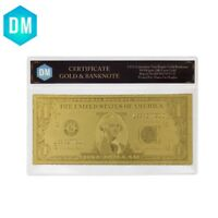 One Dollar 24k Gold Plated Gold Banknote Collectible Bill Note with Plastic Case