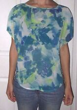 New Womens Medium GUESS Blue Green Semi Sheer Dolman Sleeve Top Shirt