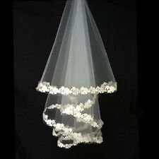 "56"" Cathedral Flower Edge Veils 1 Layer Bridal Wedding Accessory Elbow Length UK"