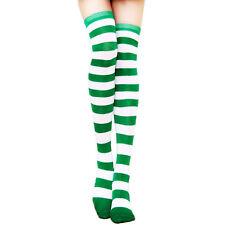 Women Sport Athletic Soccer Stripe Socks Over Knee Cotton Thigh High Stocking