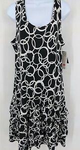 NWT Peter Nygard Women's size Large Drop Waist Ruffle Dress