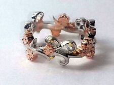 STERLING SILVER CHERRY BLOSSOM WEDDING BAND RING! SIZE 6.25! FREE SHIP! STACK!