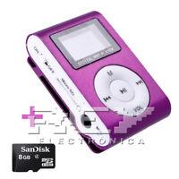 Reproductor MP3 CLIP con Pantalla LCD más Micro SD 8 Gb. Color Morado d40/v52