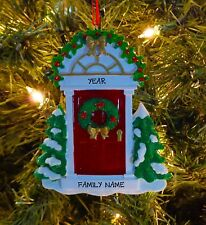Red Front Door w/ Garland - Our First Home Personalized Christmas Tree Ornament