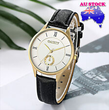 Wholesale Black Leather 18K GoldPlated Steel White Dial Quartz Women Wrist Watch