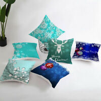 Christmas pillows cushion throw case Home for Decor cover sofa Blue