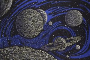 New Galactic Space Tapestry Wall Hanging Decor Gift 45x30 Planets Saturn Cosmos