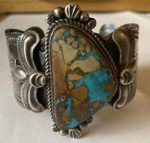 Signed Navajo Sterling Silver Pilot Mountain Turquoise Cuff Bracelet