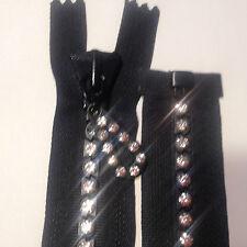 "22"" Swarovski  Rhinestone Zipper - Separating - Black- Large Stones"