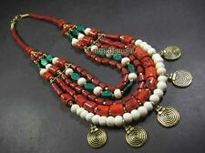 N4678 FASHION TIBETAN Tribal strand resin bead Bovine bone glass Runway NECKLACE