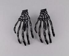 Black skeleton hand barrettes bones hair clips alligator claw clamp set 2 hands