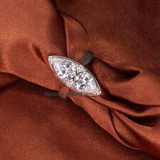 4Crt Pear Colorless Moissanite Bezel Engagement Wedding Ring in 14K White Gold