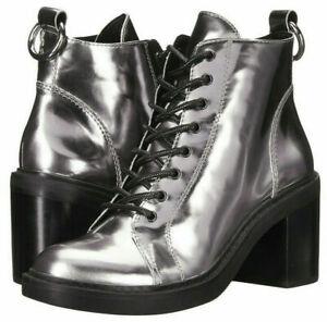 Dolce Vita Lynx Women's Fashion Combat Leather Boots in Gunmetal Specchio Size 7