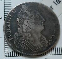 H21101 argent rareté r5 inédit Louis XIV 1/4 écu 3 couronnes 1713/2 V Troyes cgb