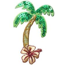 """Palm Tree Hibiscus Applique Patch - Tropical Flower 2.5"""" (Iron on)"""