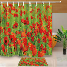 Beautiful poppies Shower Curtain Home Bathroom Decor Fabric & 12hooks 71*71inch
