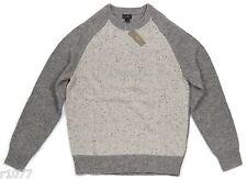 *NEW* J.Crew Men's Medium Donegal Wool Baseball Sweater - Gray / Tan *NWT*