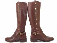 MICHAEL KORS Carney Brown Leather Studded Tall Riding Boots Womens Sz 6M ''MINT'