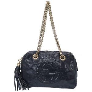 Auth GUCCI SOHO Chain Shoulder Bag 308983 Patent leather Fringe Navy U0112ELA5