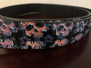 Belt Leather Rocker Purple Skulls Mens Women Unisex Removable Buckle Large 38-40