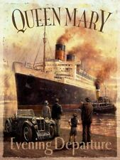 Queen Mary Ocean Cruise Liner Ship Boat Old Vintage MG Car Large Metal/Tin Sign